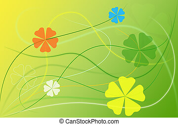 floral, résumé, papier peint, arrière-plan vert