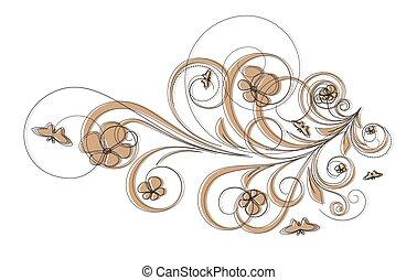 floral, résumé, retro, cadre, élément