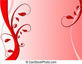 floral, résumé, rouges, illustration