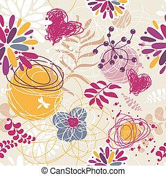 floral, résumé, seamless, fond, retro