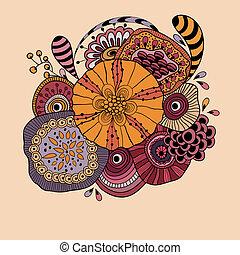 floral, résumé, vecteur, composition