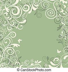 floral, résumé, vert, seamless, fram