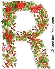 floral, r, arbre, noël, lettre