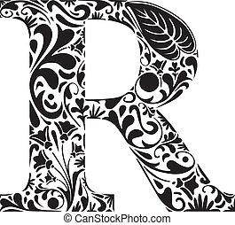 Floral R - Floral initial capital letter R