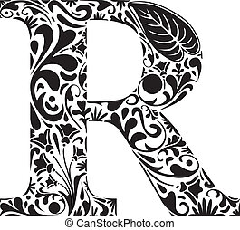 Floral R - Floral initial capital letter R