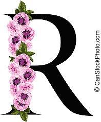 floral, r, ornamento, letra