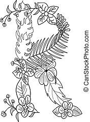 floral, r, ornement, lettre