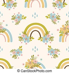 FLORAL RAINBOW Hand Drawn Seamless Pattern Vector Illustration