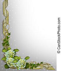 floral rand, klimop, en, hortensia