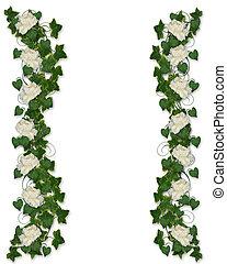 floral rand, klimop, peony, uitnodiging