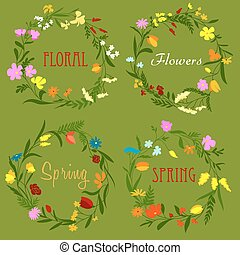 floral rand, lijstjes, met, wildflowers, en, keukenkruiden