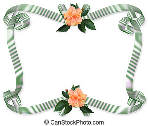 floral rand, uitnodiging, hibiscus