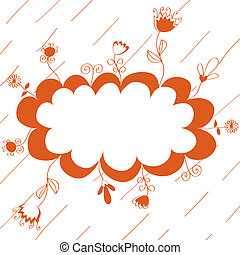 Floral red background with frame