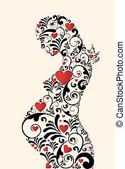 floral, redemoinhos, mulher, amor, grávida