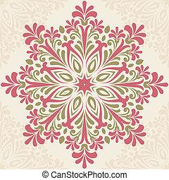 floral, redondo, pattern.
