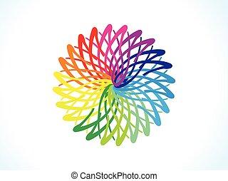floral, regenboog, abstract, cirkel, artistiek