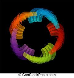 floral, regenboog, eleme, ontwerp, gekleurde