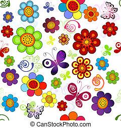 floral, regenboog, seamless, model