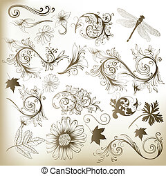 floral, remolino, vector, e, colección