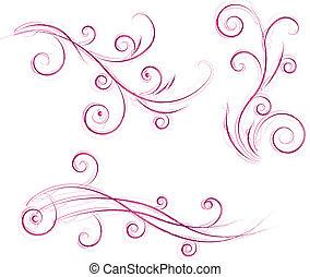 floral, remolinos, diseños