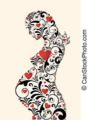 floral, remolinos, mujer, amor, embarazada