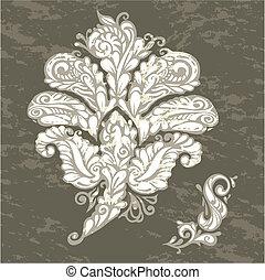 floral, renascimento, estilo, projete elemento