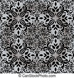 floral, repetición, plata