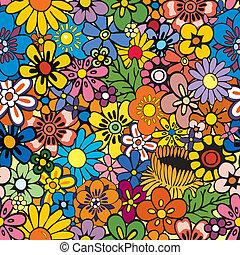 floral, repetindo, fundo