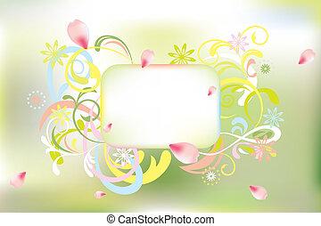 floral, resumen, tarjeta
