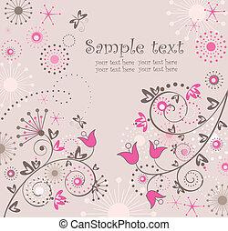 floral, resumen, tarjeta de felicitación
