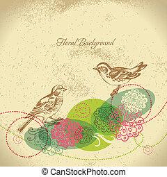 floral, retro, achtergrond, vogel