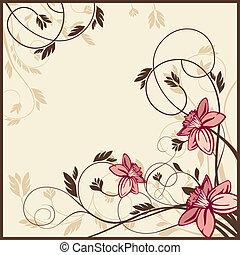 floral, retro, cartão