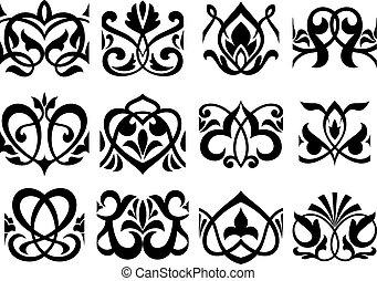 Floral retro ornament design elements