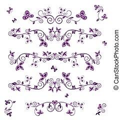floral, retro, ornamento