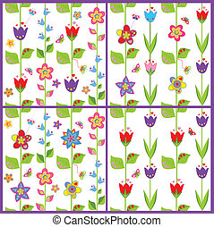 floral, rigolote, ensemble, papier peint, printemps