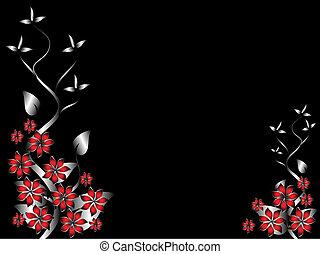 floral, rode achtergrond, mal, zilver