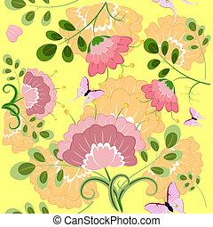 floral, romantique, fond, seamless