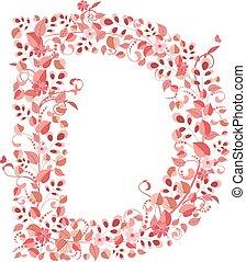 floral, romantique, lettre, d
