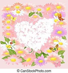 floral, romantique, valentin