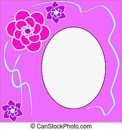 floral, ronde, frame, met, plek, voor, tekst