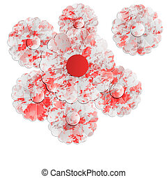 floral, rood, achtergrond