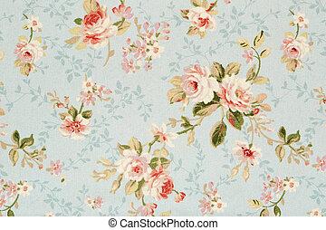 floral, roos, tapestry, textuur