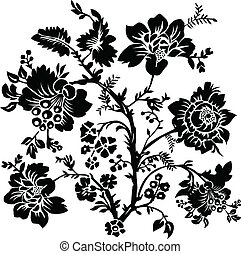 floral, roos, vector, ornament