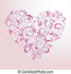 floral, rosa, corazón