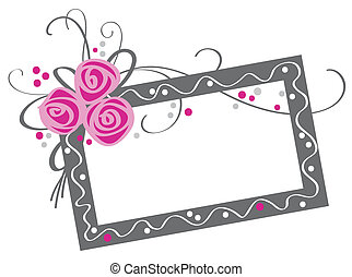 floral, rosa, marco, ramo