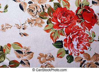 floral, rosa, tela de seda, rojo