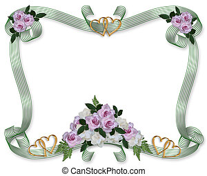 floral, rosas, casório, borda, convite