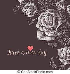 floral, rosas, decorativo, fundo, canto