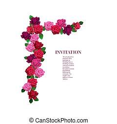floral, rosas, esquina