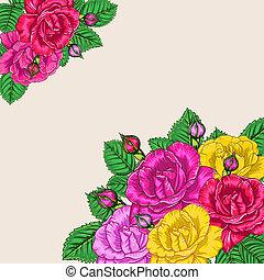 floral, rosas, fundo